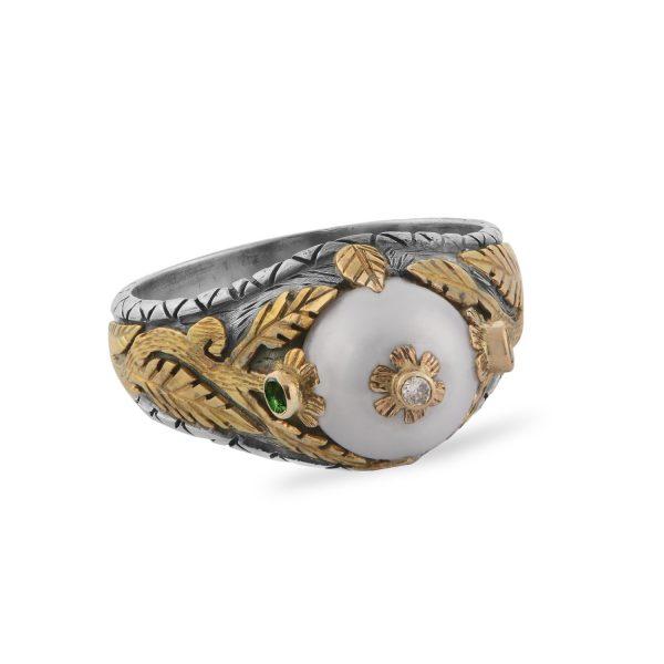 Oriana Pearl Diamond Tsavorite Ring by Emma Chapman Jewels