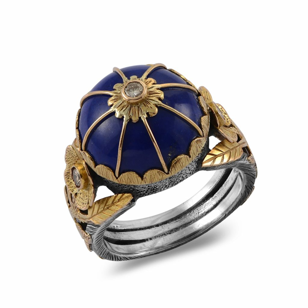 The Leh Lapis Lazuli Diamond Ring by Emma Chapman Jewels