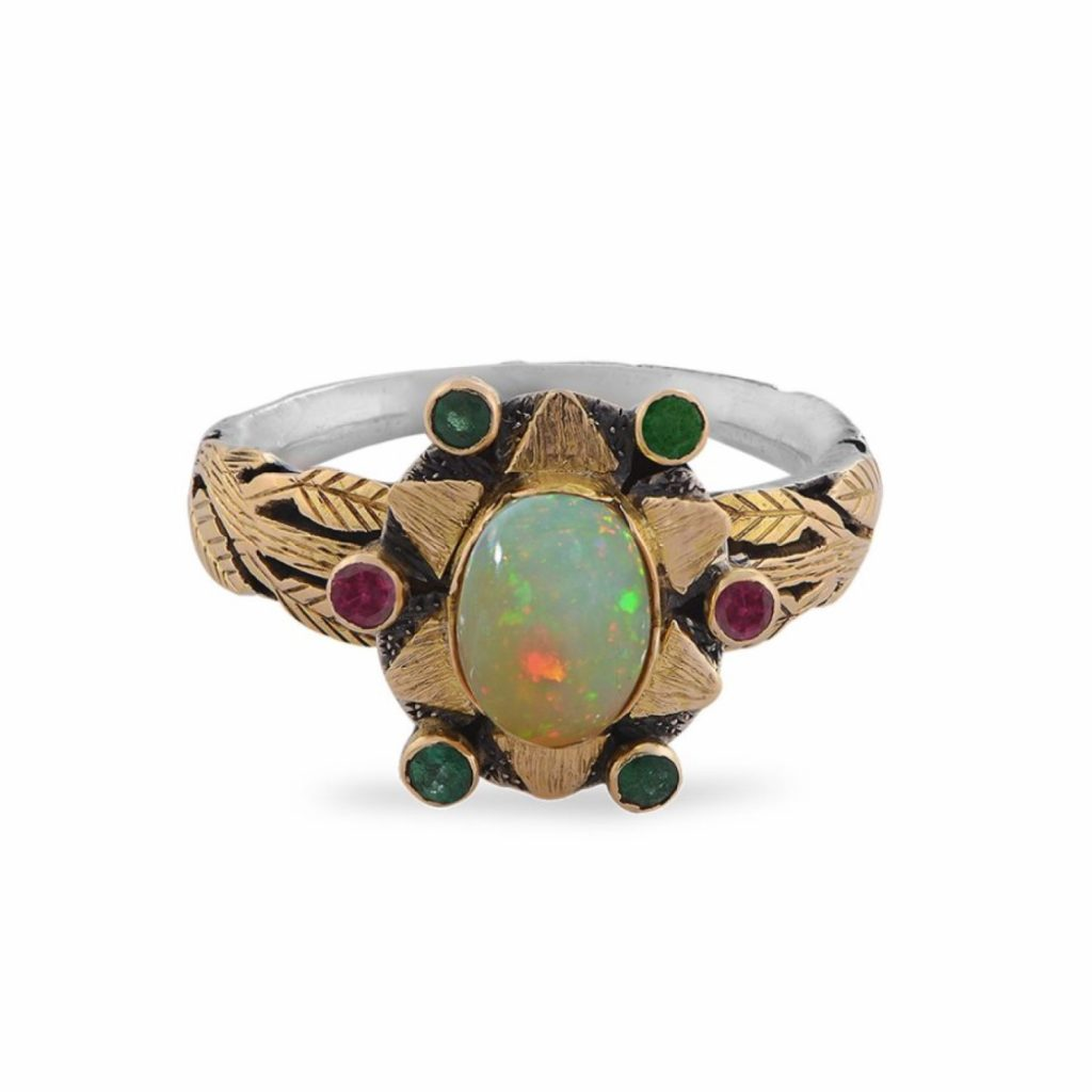 Lola Opal Emerald Rubelite Ring by Emma Chapman Jewels