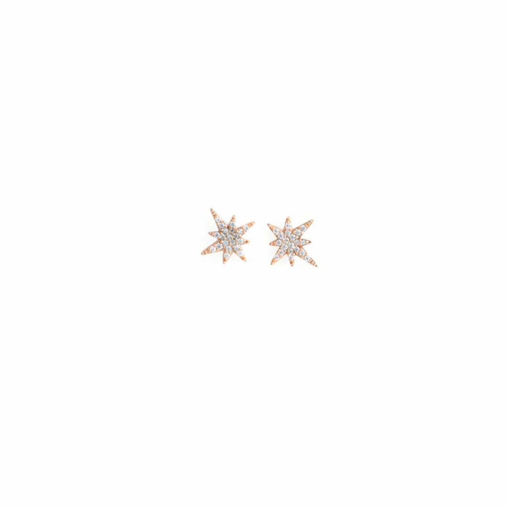 Rose Gold Astral Star Studs by MyriamSOS