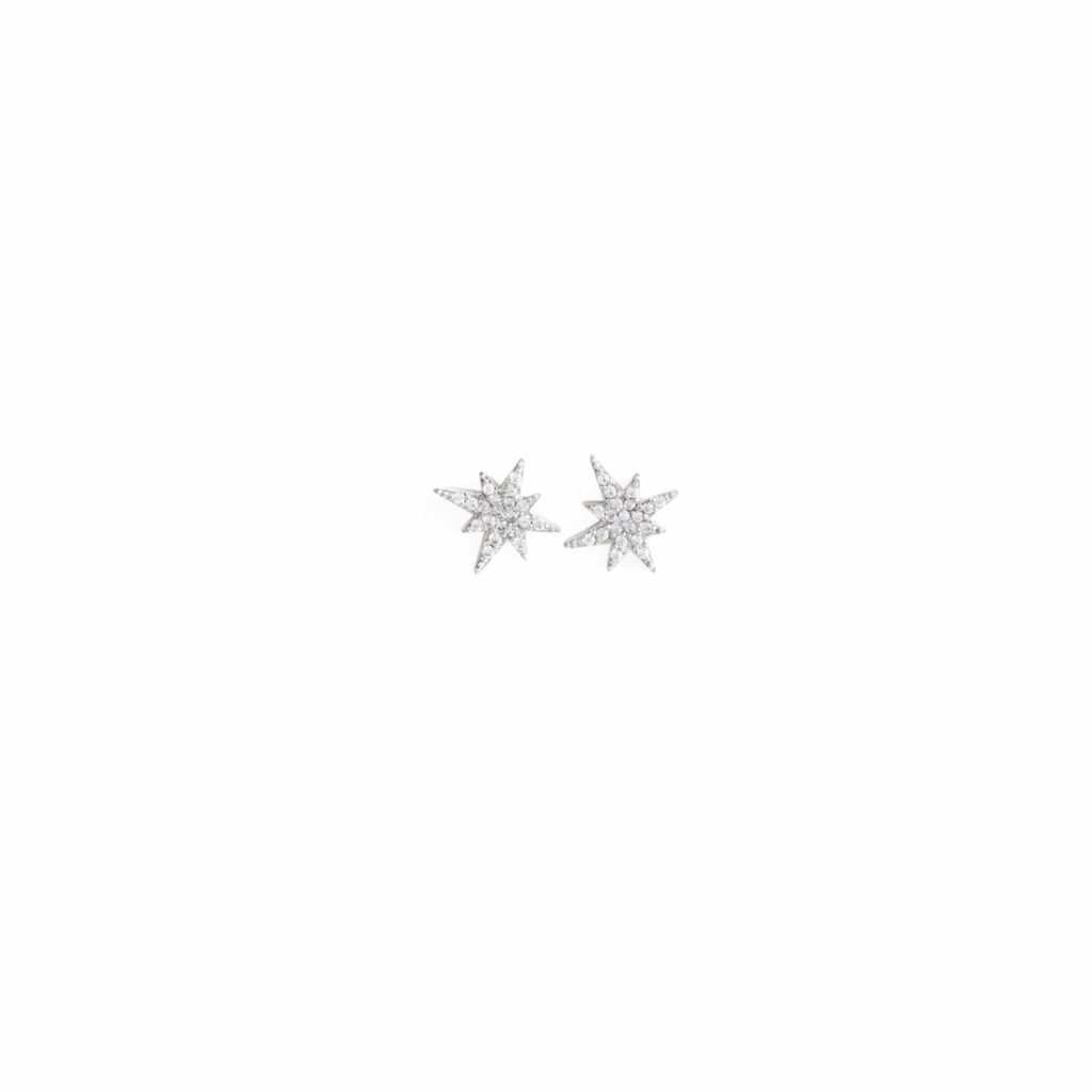 White Gold Astral Star Studs by MyriamSOS
