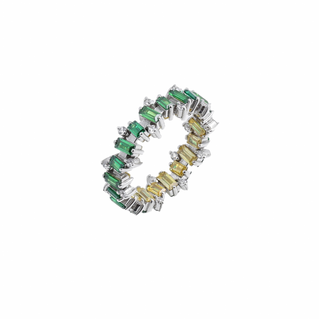 Citrine, Emerald and White Sapphire Jagged Ring by MyriamSOS