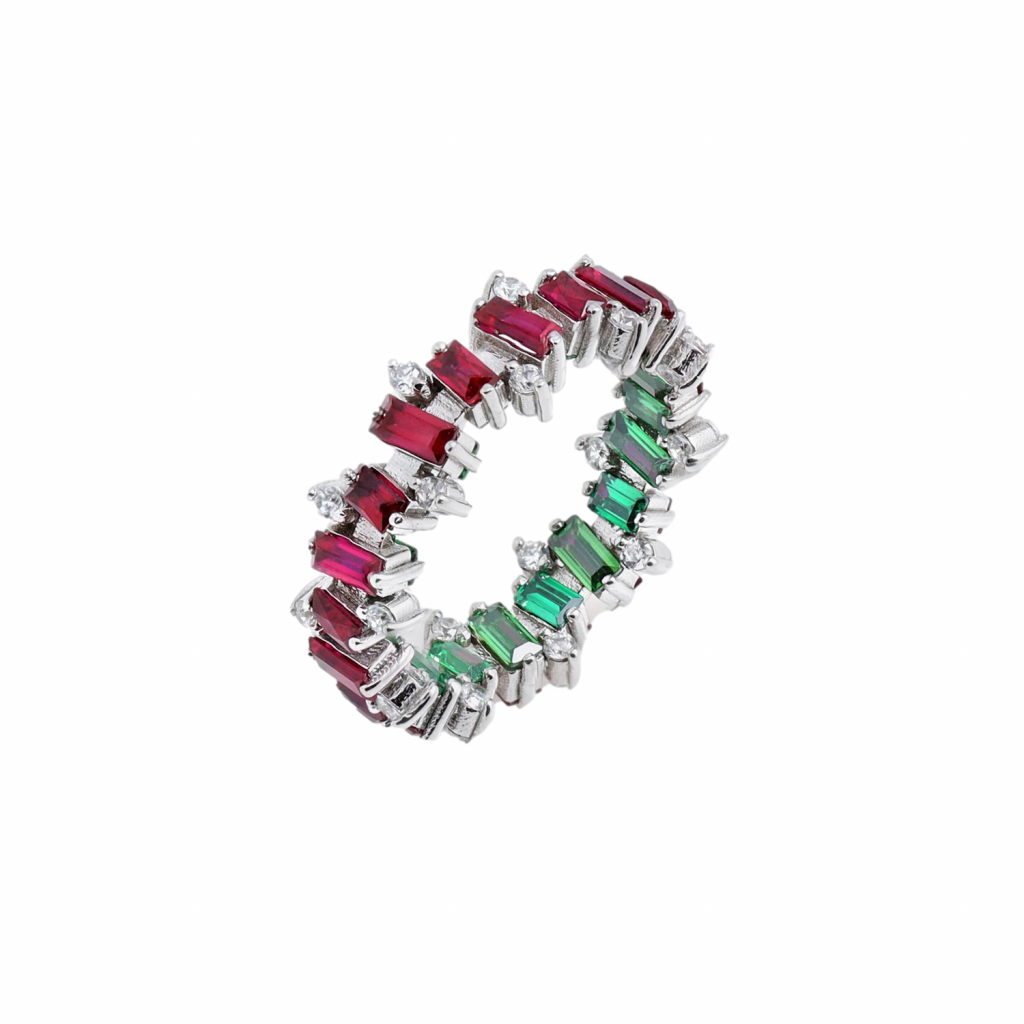 Ruby, Emerald and White Sapphire Jagged Ring by MyriamSOS