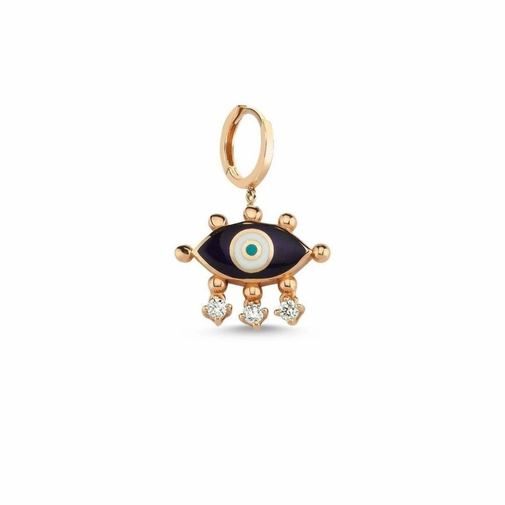 Evil Eye Hoop Earring (Navy Blue) by Selda Jewellery