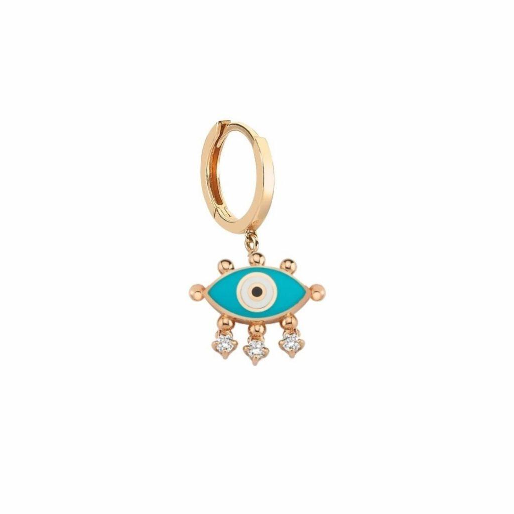 Evil Eye Hoop Earring (Turquoise) by Selda Jewellery