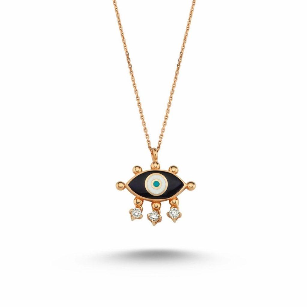 Evil Eye Necklace (Navy Blue) by Selda Jewellery