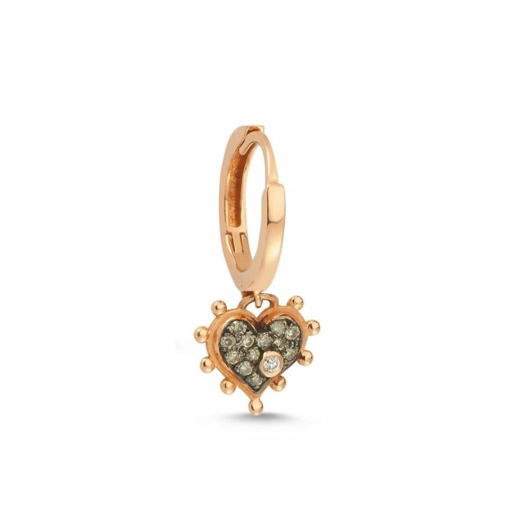 Champagne Heart Hoop Earring by Selda Jewellery