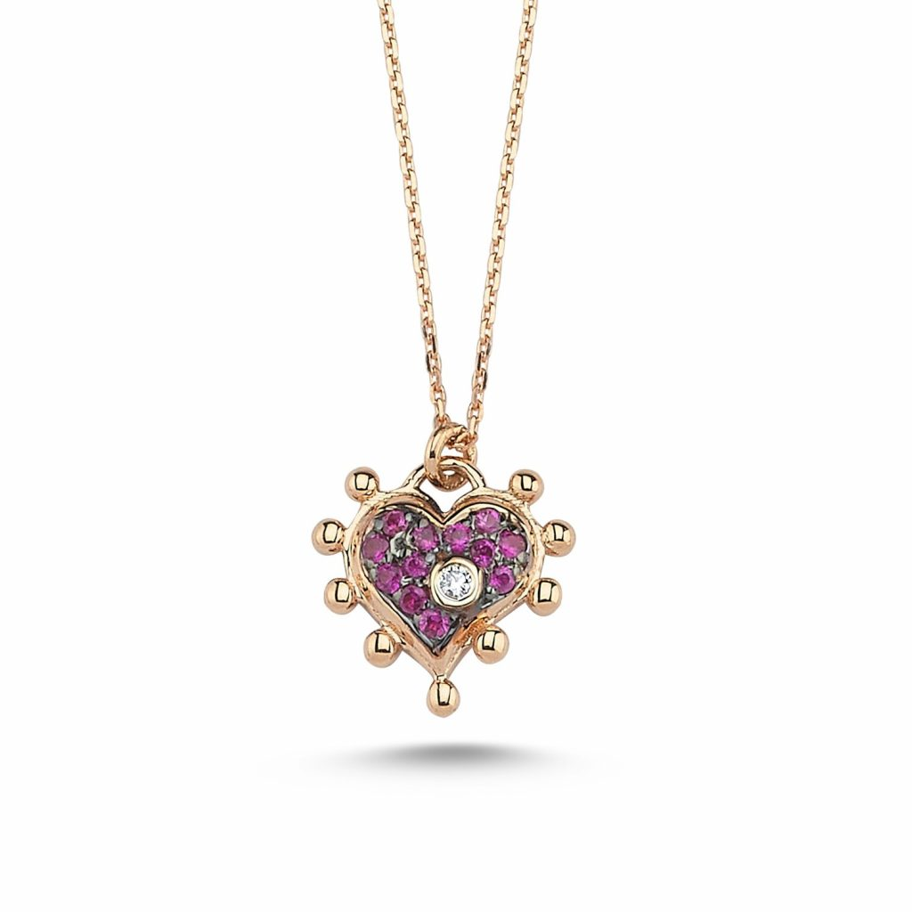 Pink Heart Necklace by Selda Jewellery