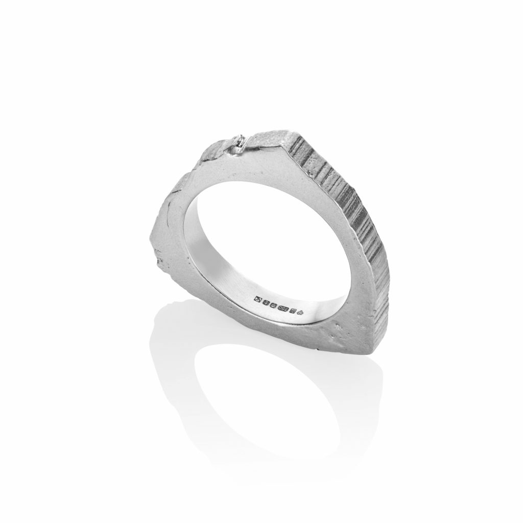 RockStars Trigonal Slice Ring in White Gold by The Rock Hound