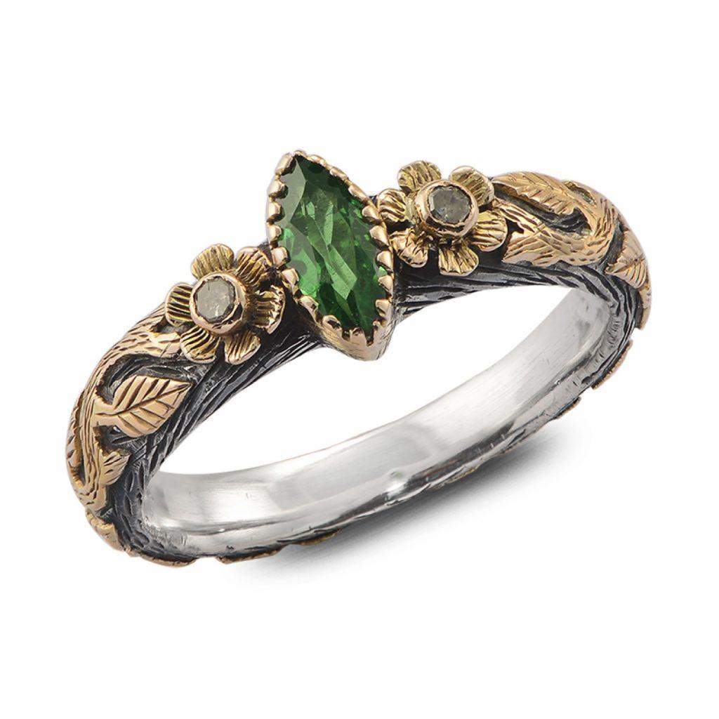 Madison Tsavorite and Diamond Ring by Emma Chapman Jewels