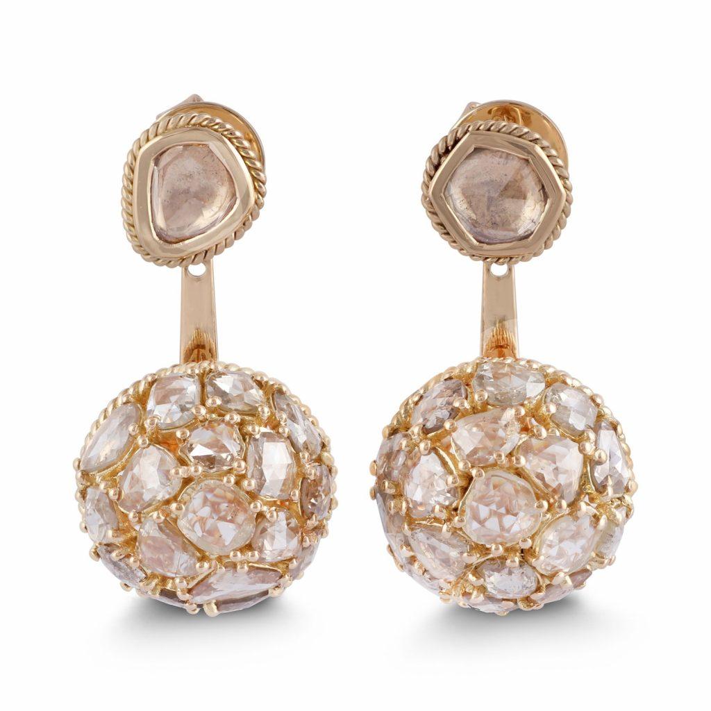 Earring Zero 3 – Diamonds in Yellow Gold by IVAR by Ritika Ravi