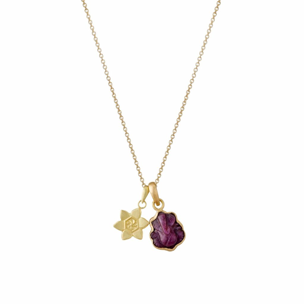 Ruby Ganesh and Lotus Necklace by Sophie Theakston