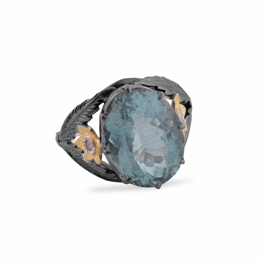 Adore Aquamarine Diamond Ring by Emma Chapman Jewels