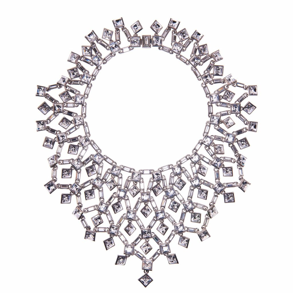 Claudette Square Crystal Cluster Large Necklace by Simon Harrison