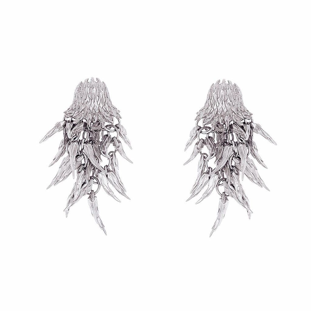 Dionysus Bear Drop Earrings (Silver) by Simon Harrison