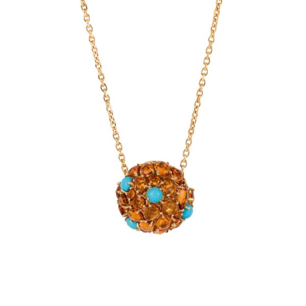 Jaipur Citrine and Turquoise Pendant by Gyan Jewels