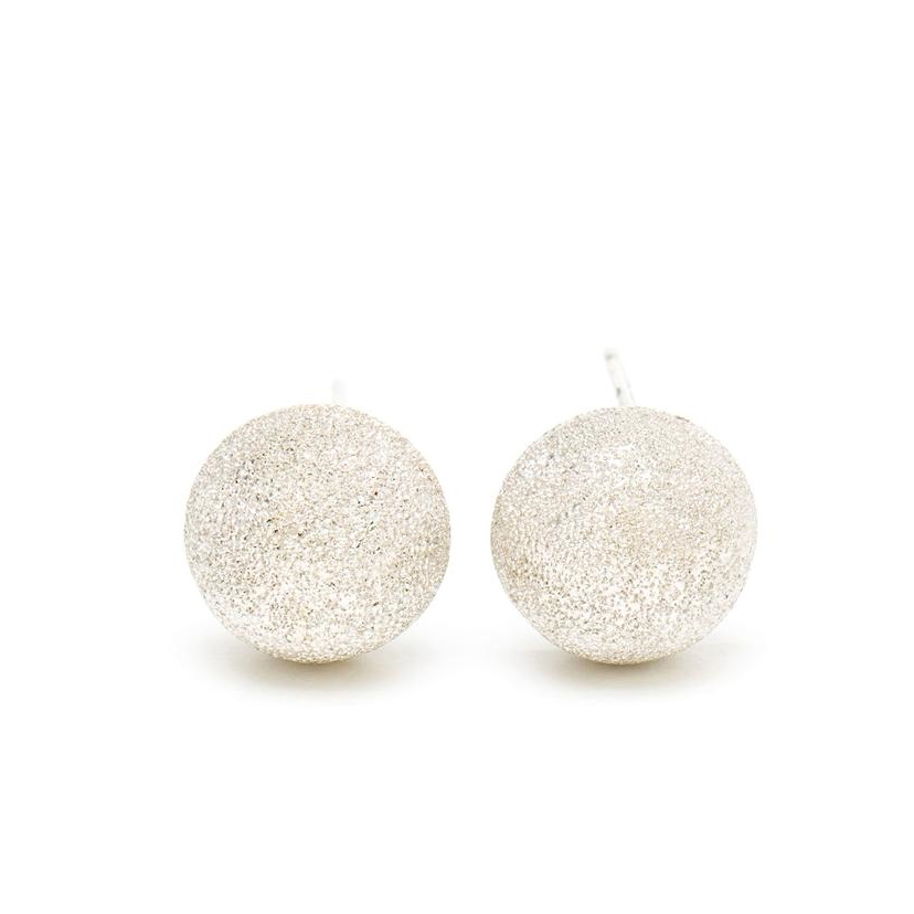 18K Gold Sparkly Button Studs