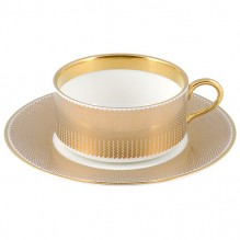 Benday Gold Tea Cup and Saucer
