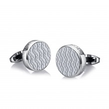 Stainless Steel and White Ceramic Cufflinks