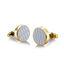 Gold Plated White Ceramic Cufflinks
