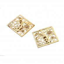 Square 18kt Gold Earrings with Diamonds