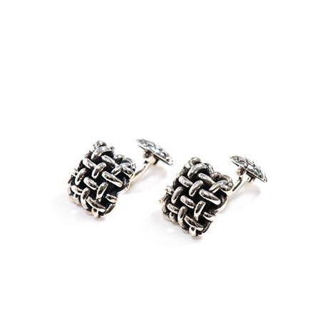 Basketweave Silver Cufflinks