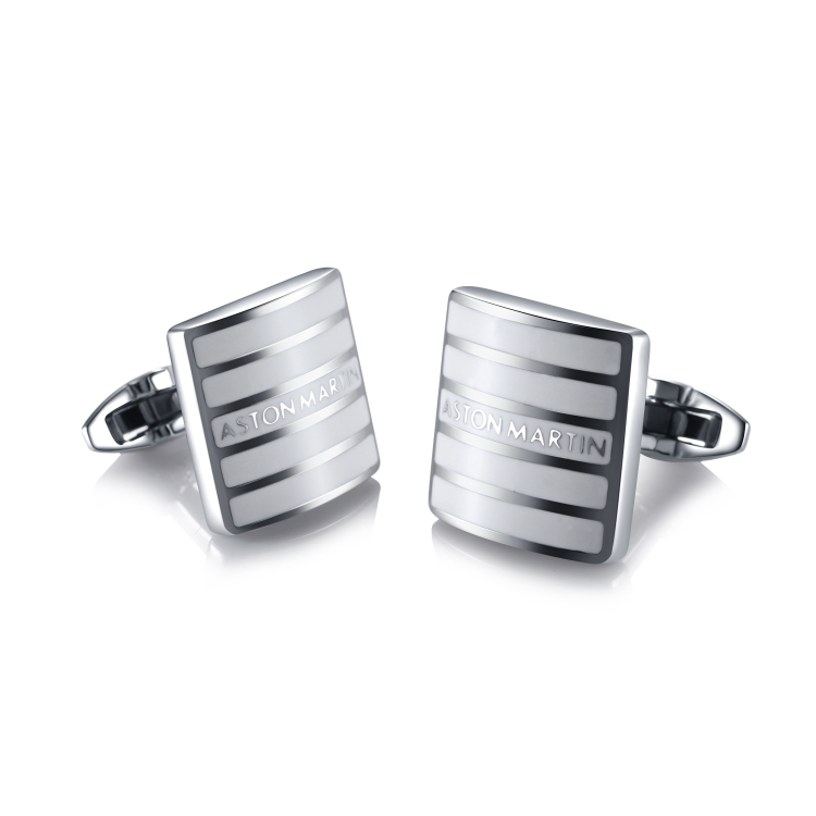 Stainless Steel and White Enamel Cufflinks