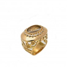 18kt Gold Diamond and Crystal Ring